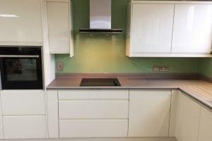 Kitchen Glass Splashback Coloured in Dulux Putting Green