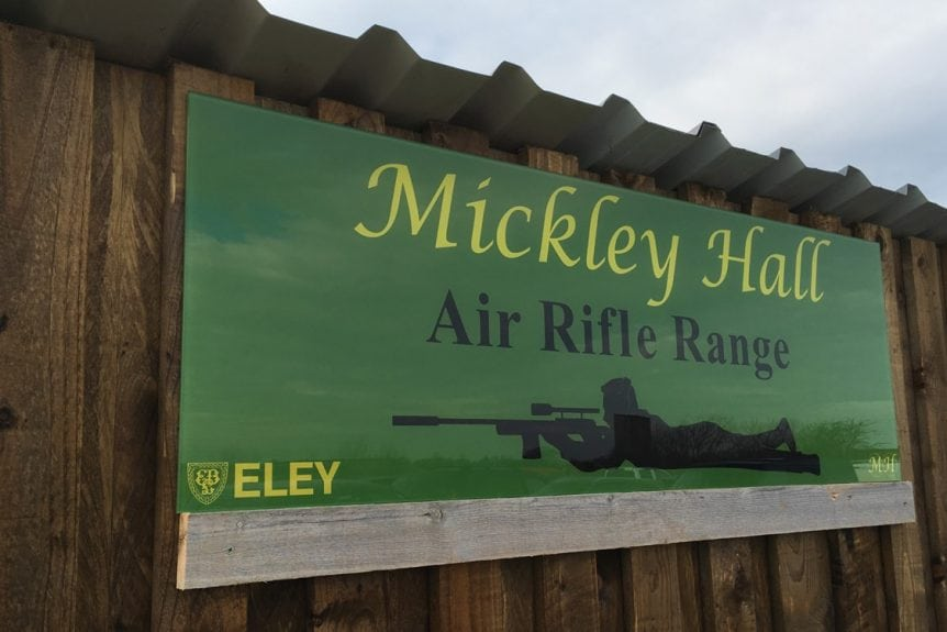 Mickley Hall Shooting School Rifle Range Glass Sign