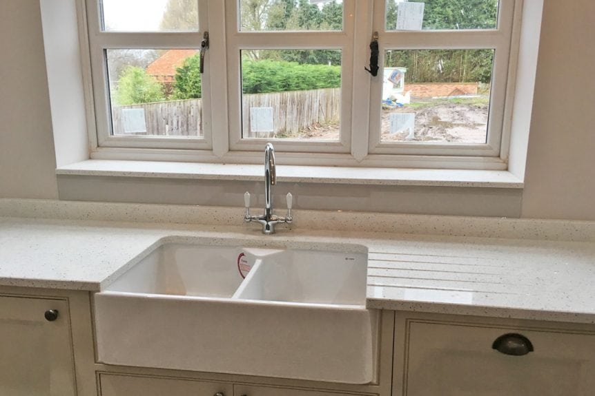 Cornforth White Sink Glass Splashback