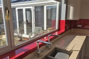 Full Length Glass Window Sill Fitted in Cheshire Kitchen
