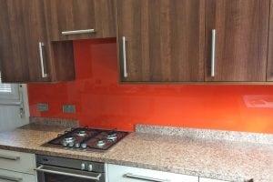 Glass Splashback Custom Cut To Fit Behind Hob Coloured in Farrow and Ball Charlottes Locks