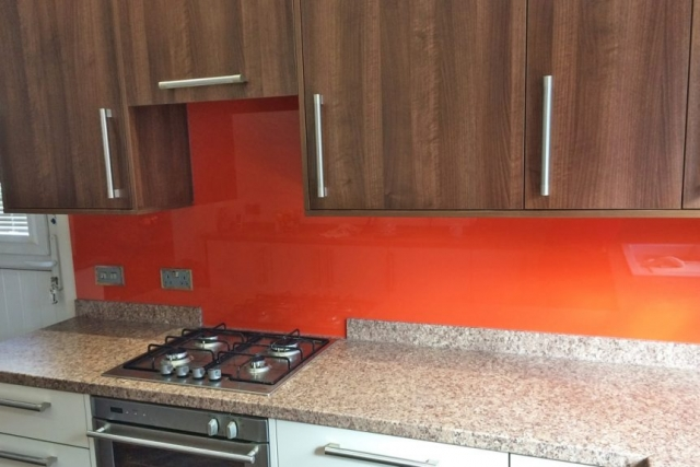 Glass Splashback Custom Cut To Fit Behind Hob Coloured in Farrow and Ball Charlottes Locks
