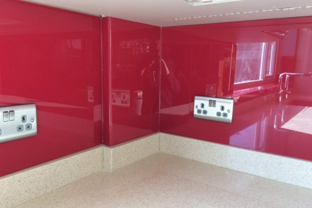 Glass Splashback Fitted Under Cupboards with LED Tape