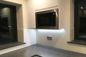 Glass Splashback Fitted underneath In built Microwave