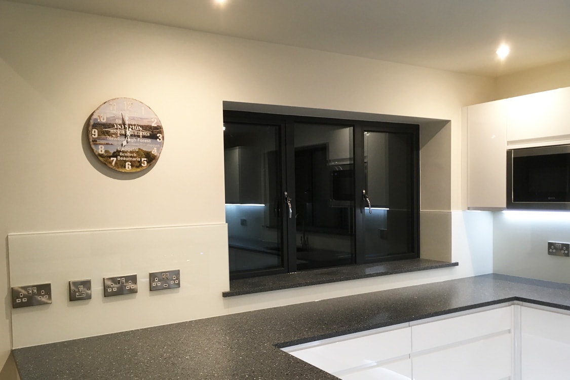 Glass Splashback Surrounding Kitchen Window