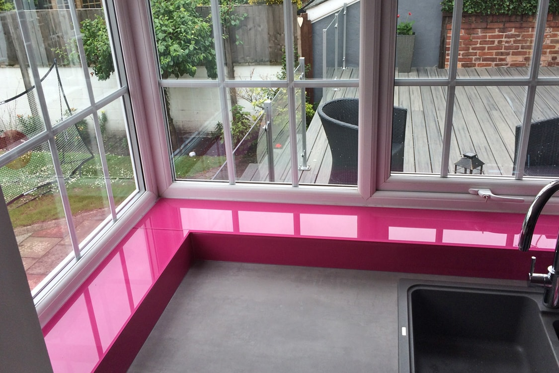 Glass Window Sill Coloured in Hot Pink