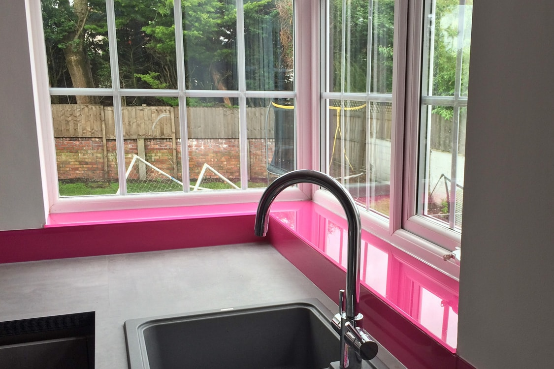 Glass Window Sill and Upstand Coloured in Hot Pink