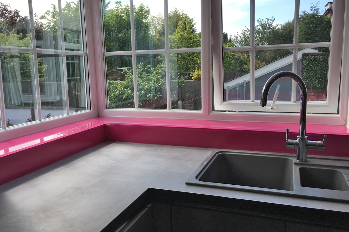 Hot Pink Glass Window Sill Fitted in Southport