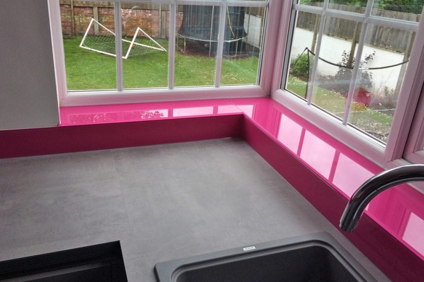 Hot Pink Glass Window Sill and Upstand