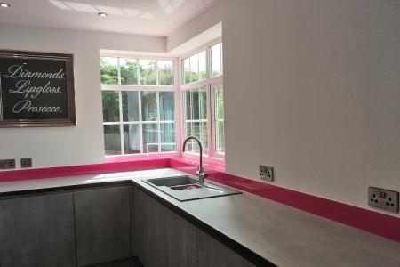 Hot Pink Glass Splashback & Window Sills