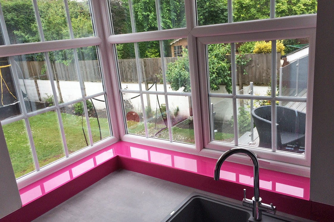 Hot Pink Glass Window Sill