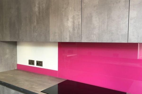 Hot Pink Modern Glass Splashback