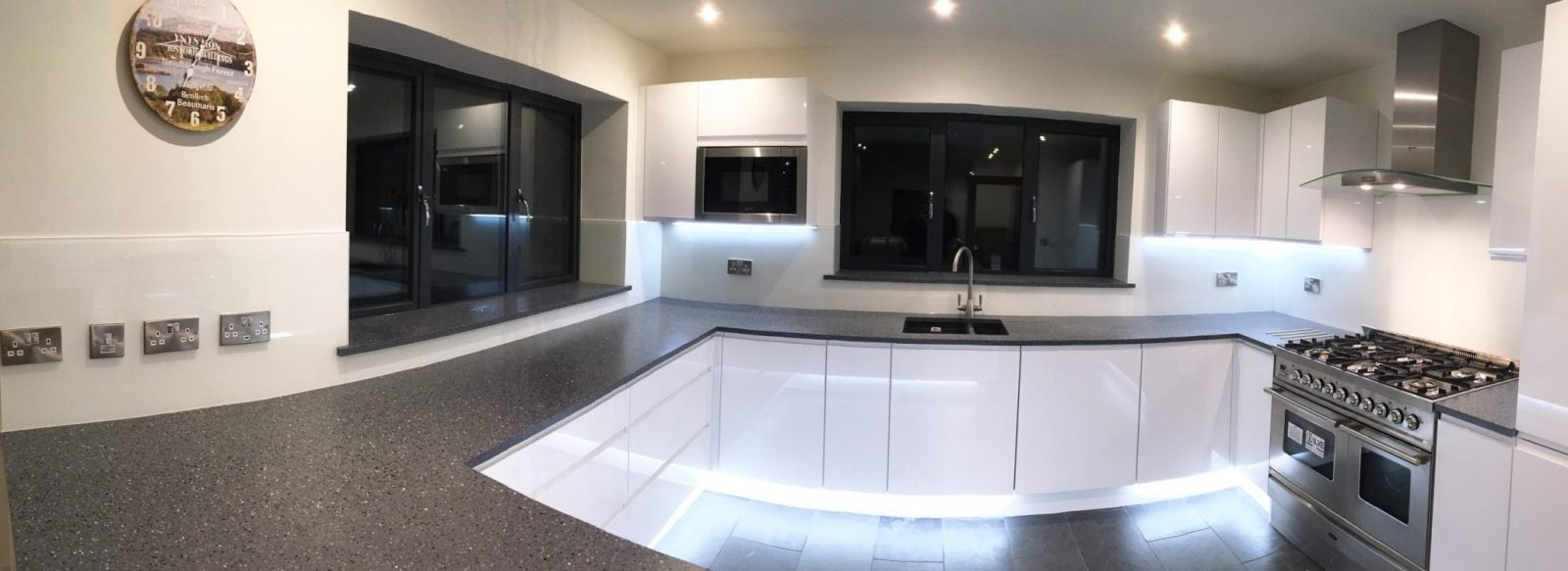 Kitchen Glass Splashback Coloured in Farrow and Ball Wimborne White Fitted in Holmes Chapel Cheshire