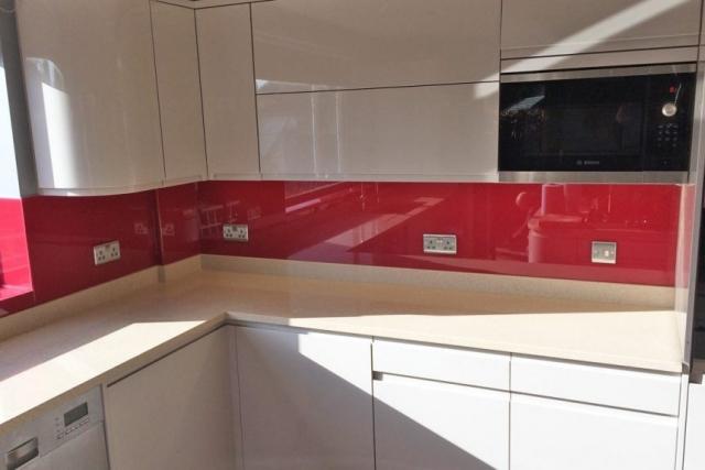 Kitchen Glass Splashback Coloured in Red
