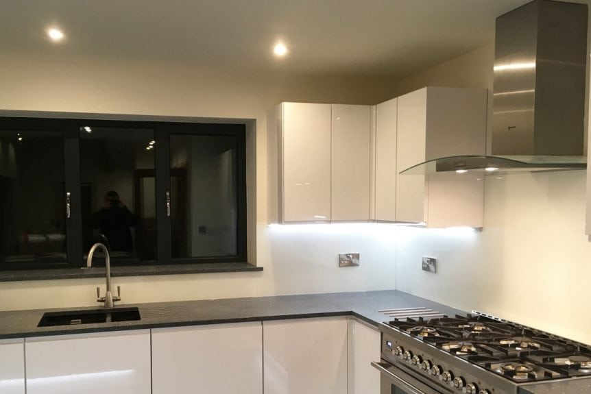 Kitchen Glass Splashback Fitted in Cheshire