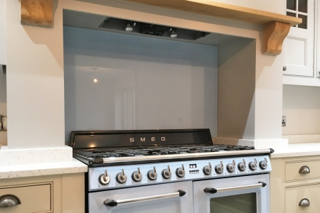 Smeg Blue & Cornforth White Kitchen Glass Splashback & Upstand