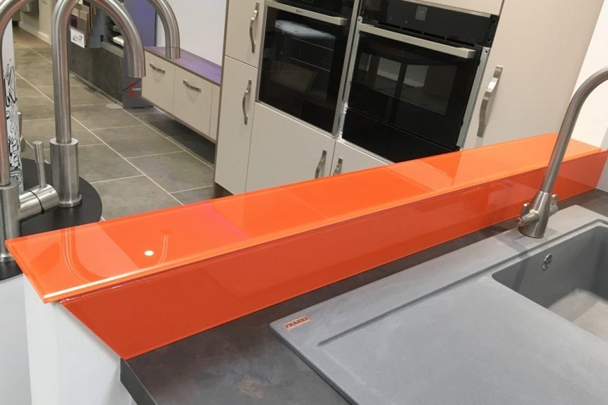 Stunning Glass Sill and Upstand in Bright Orange