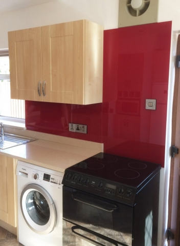 Bordeaux Red Glass Splashback Fitted in Modern Kitchen