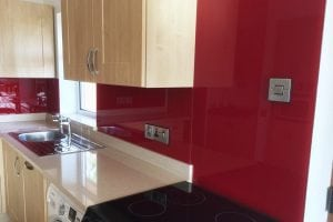 Bordeaux Red Glass Splashback with Socket Cutouts
