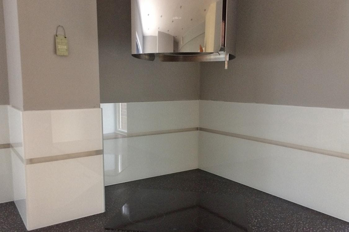 Full Kitchen Glass Splashback with LED Stripe