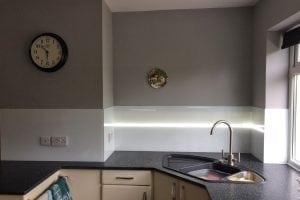Glass Splashback Behind Kitchen Sink with LED Strip