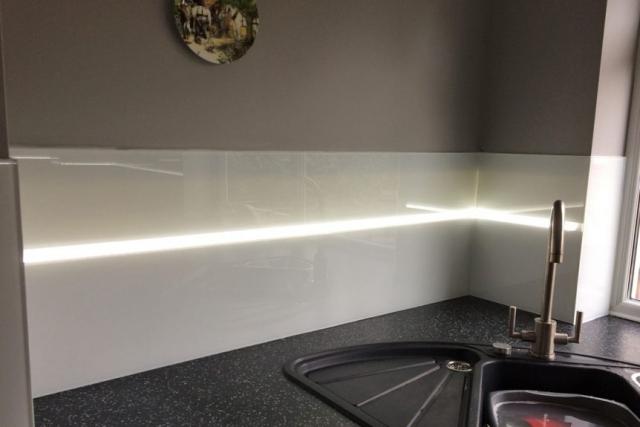 Glass Splashback Coloured in Polar White with LED Stripe