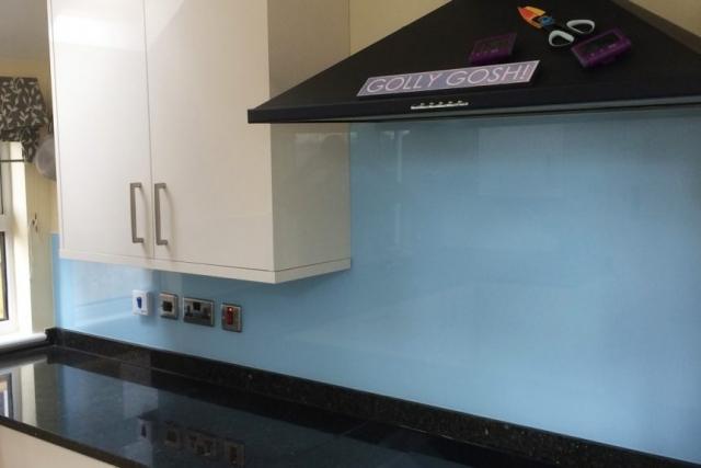 Glass Splashback Coloured in Smeg Blue