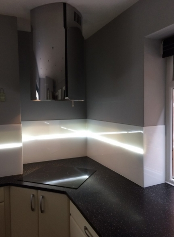Glass Splashback Fitted in Cheshire with LED Stripe