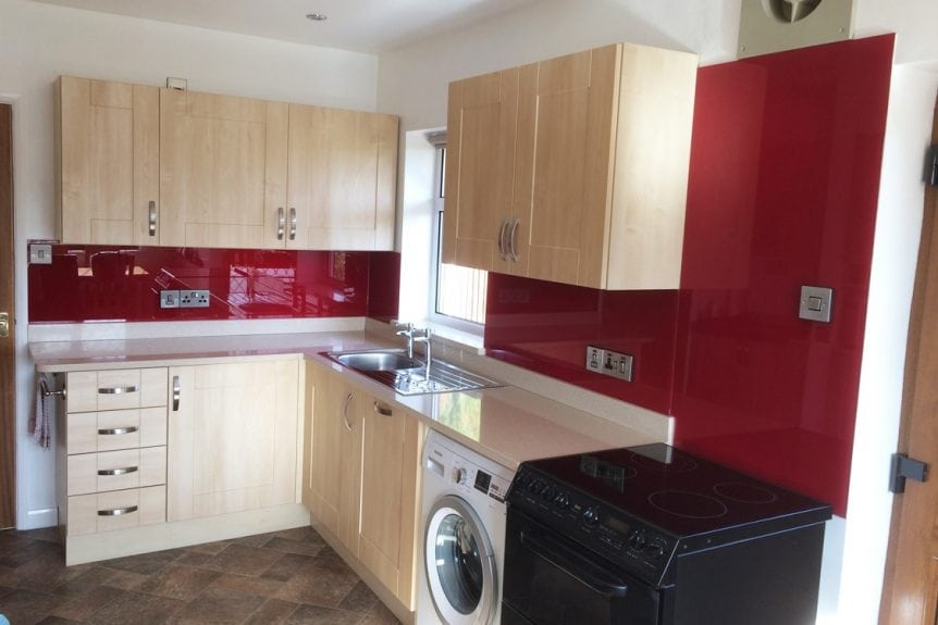 Glass Splashback Fitted in Winsford Cheshire Finished in Red Bordeaux
