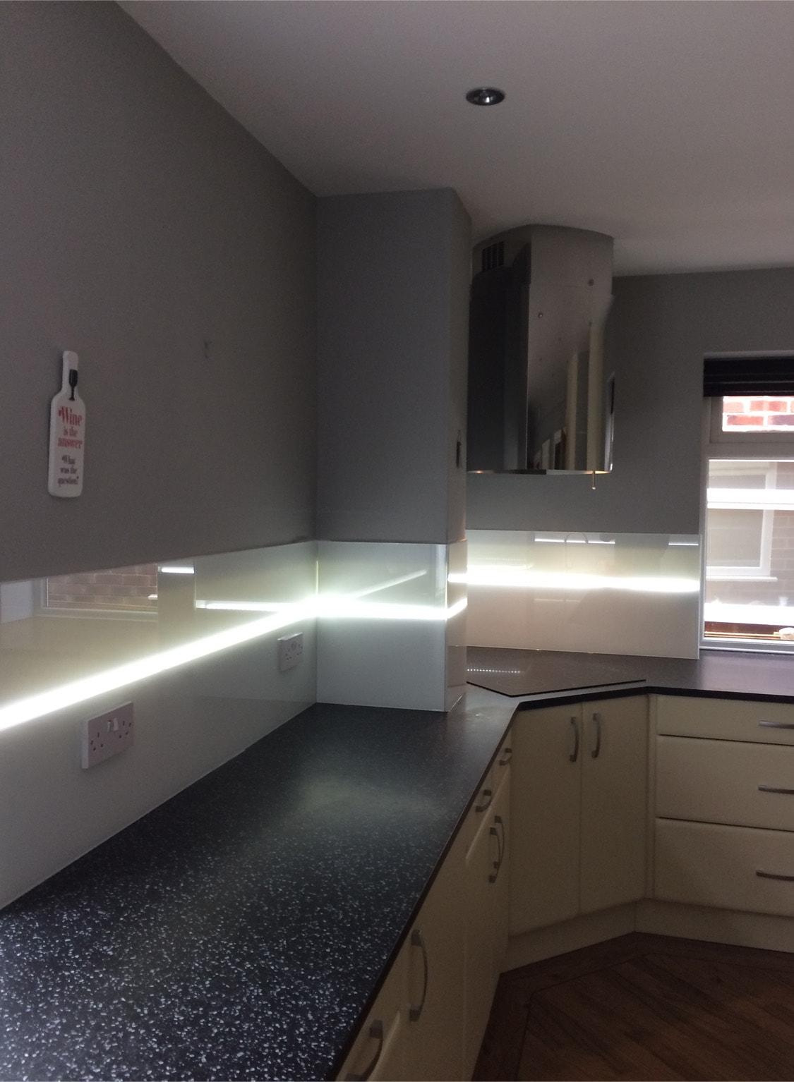 Glass Splashback Lit With LED Lights