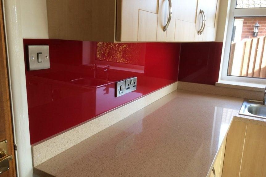 Kitchen Glass Splashback Coloured in Bordeaux Red