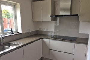 Kitchen Glass Splashback With Upstands Coloured in Farrow and Ball Charleston Gray