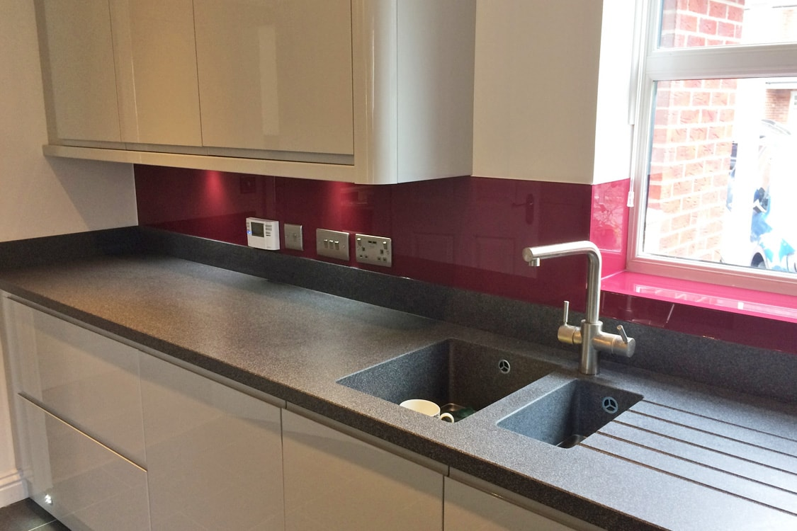 Farrow & Ball Radicchio & Jet Black Glass Splashback