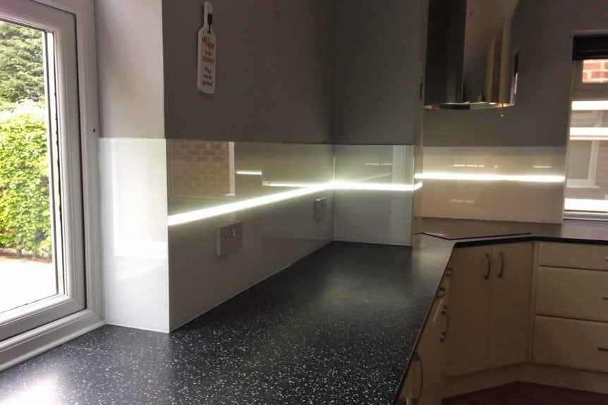 LED Light Strip in Kitchen Glass Splashback