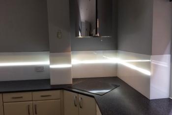 Polar White with Translucent Stripe Kitchen Glass Splashback