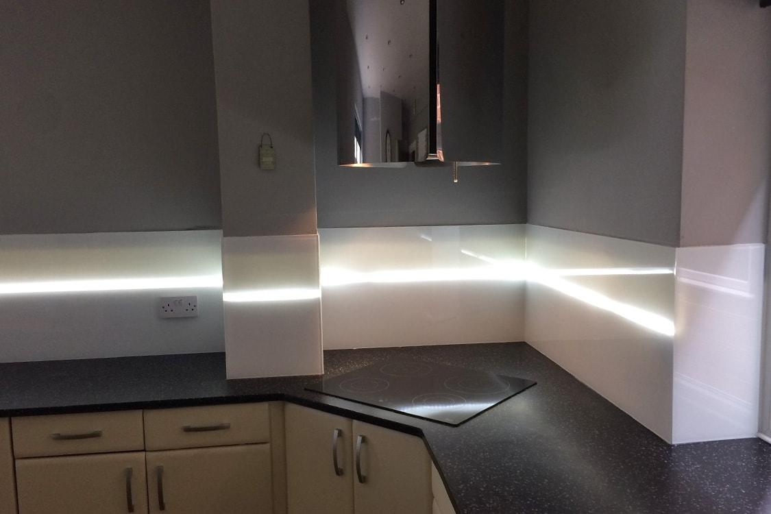 Polar White Glass Splashback with Translucent Strip