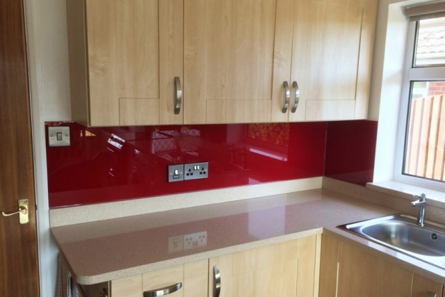 Red Bordeaux Kitchen Glass Splashback