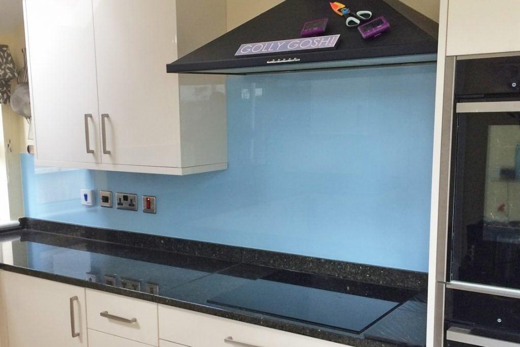 Smeg Blue Kitchen Glass Splashback