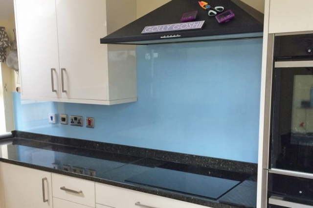 Smeg Blue Kitchen Glass Splashback