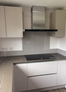 Stunning Kitchen Glass Splashback Coloured in Charleston Gray from Farrow and Ball