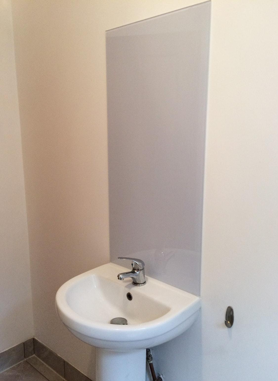 Cloud Glass Splashback Behind Bathroom Sink. Cloud Glass Splashback Behind  Bathroom Sink