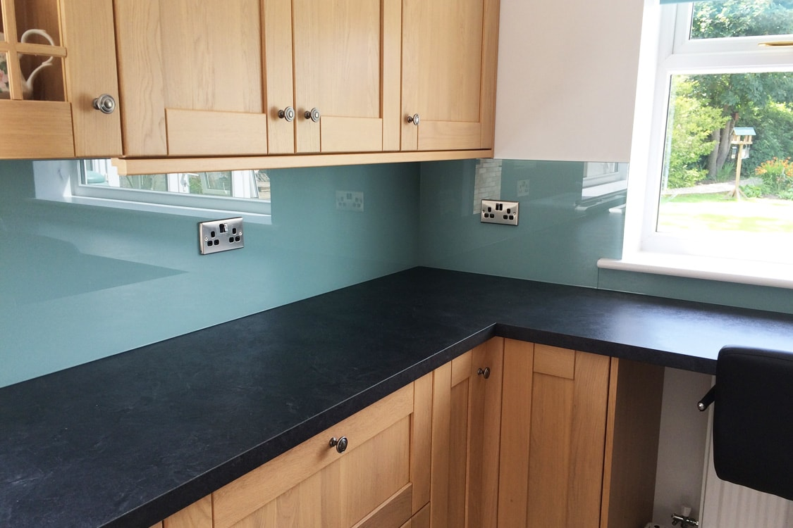 Toughened Kitchen Glass Splashback Coloured In Dix Blue