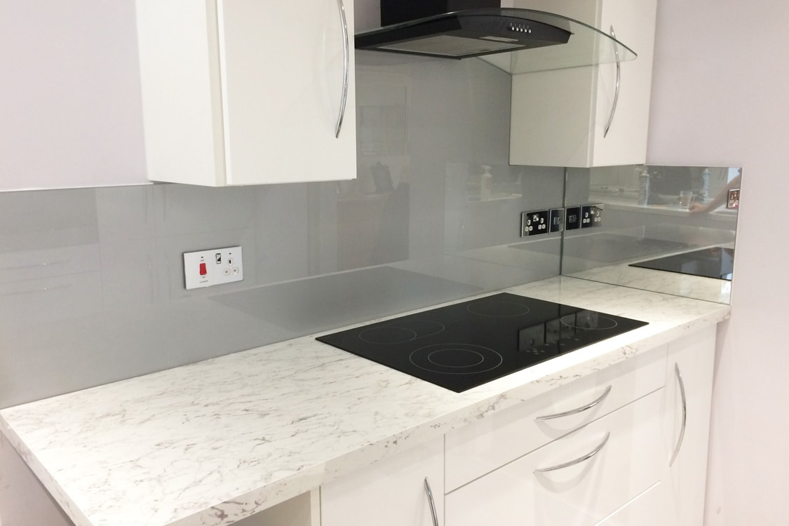 Silver & Mirror Glass Splashback
