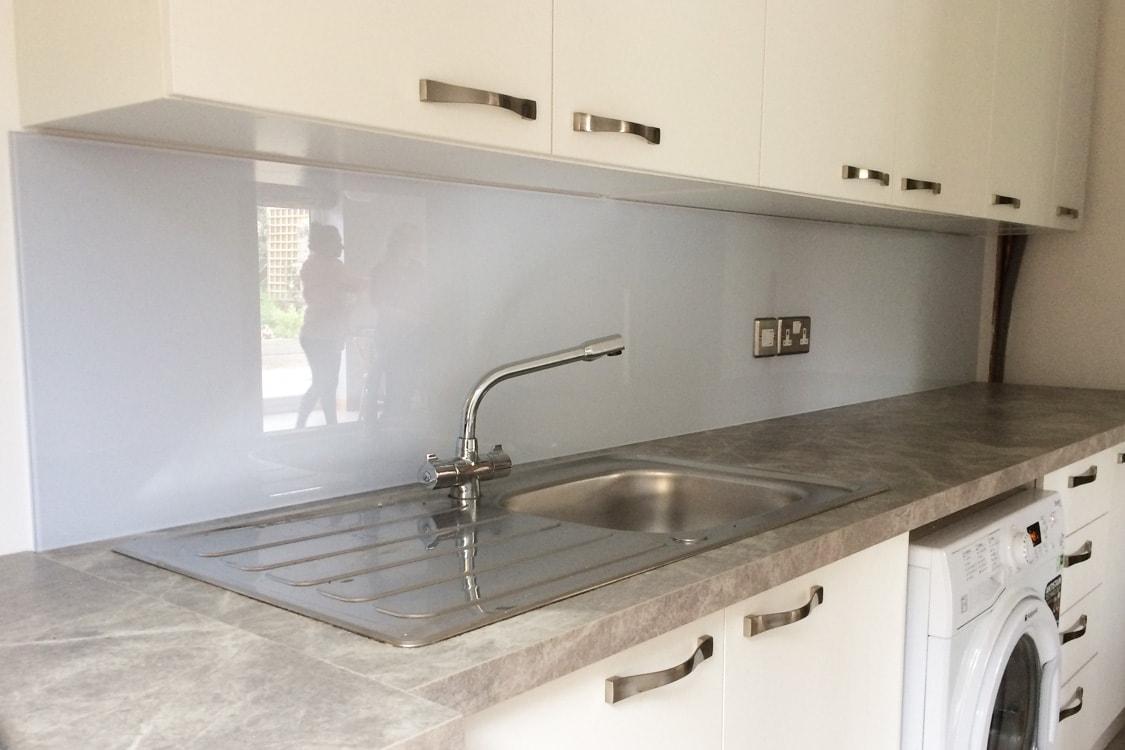 Cloud Glass Splashback In the Utility & Bathroom