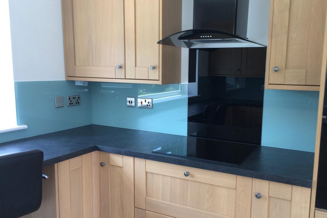 Toughened Kitchen Glass Splashback Coloured in Dix Blue