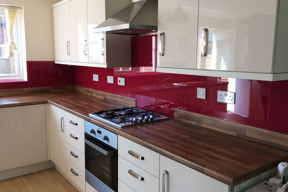 Deep Bordeaux Glass Splashback and Window Sill