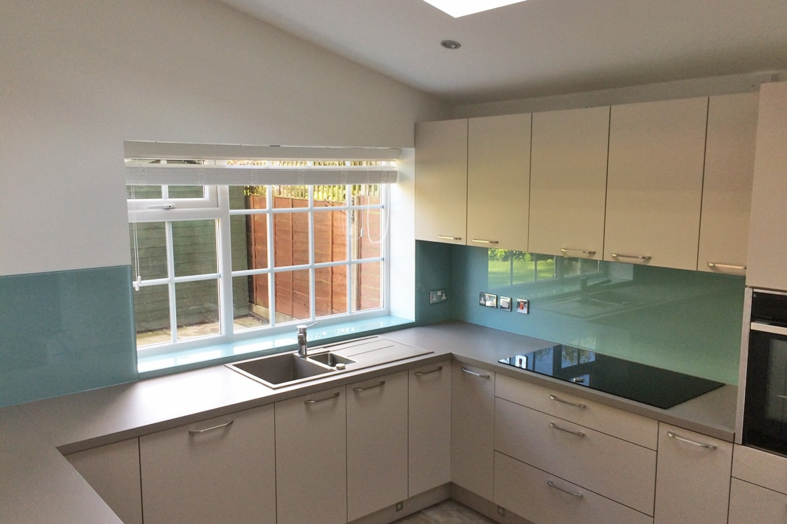 Farrow and Ball Dix Blue No.82 Glass Splashback and Window Sill