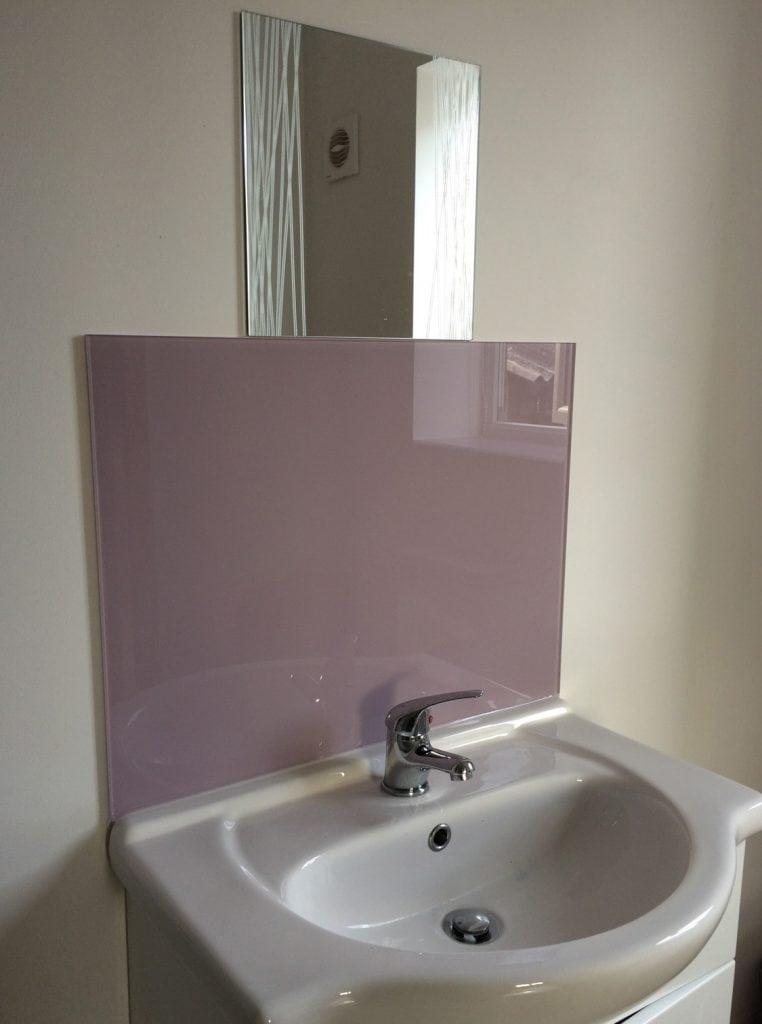 Heather Orchid Glass Bathroom Splashback and Window Sill Glass Splashbacks
