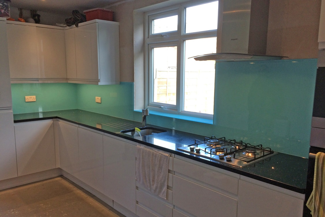 Aqua Kitchen Glass Splashback