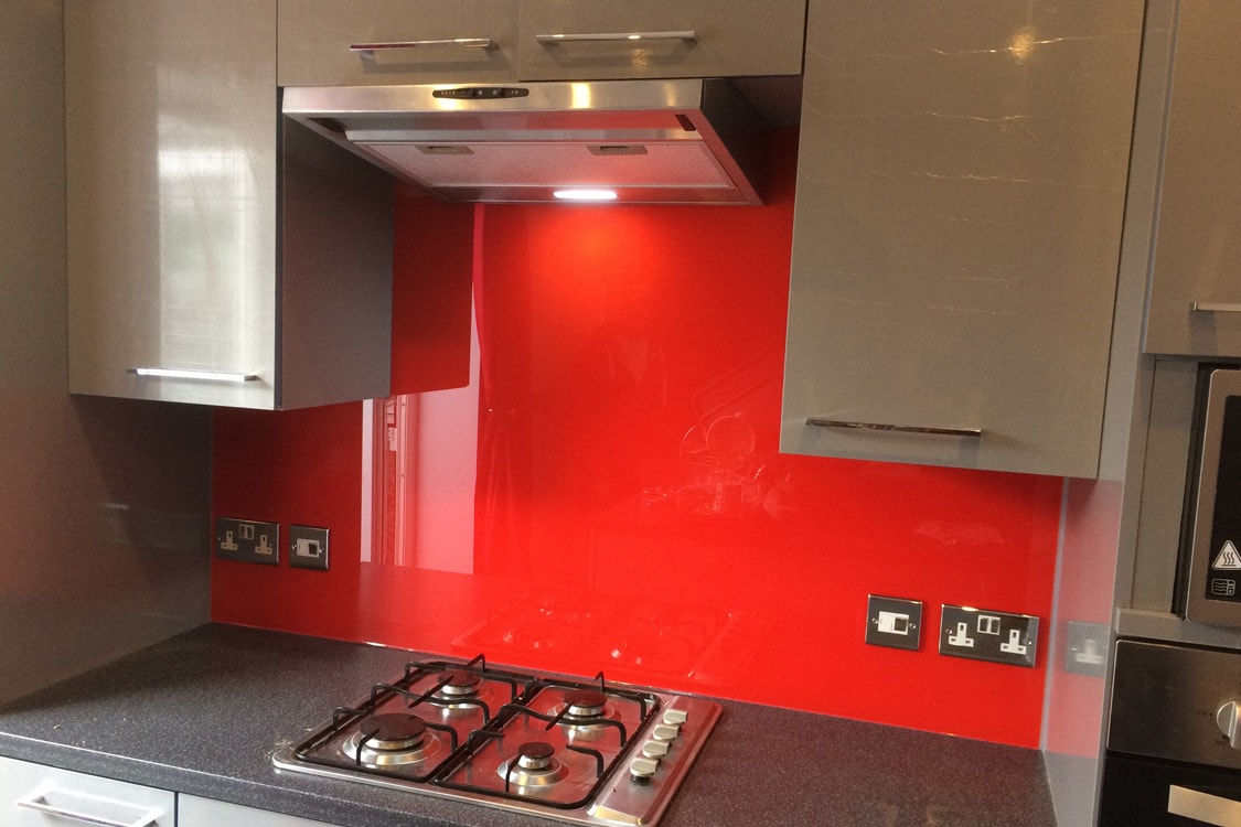 Traffic Red Top Hat Glass Splashback
